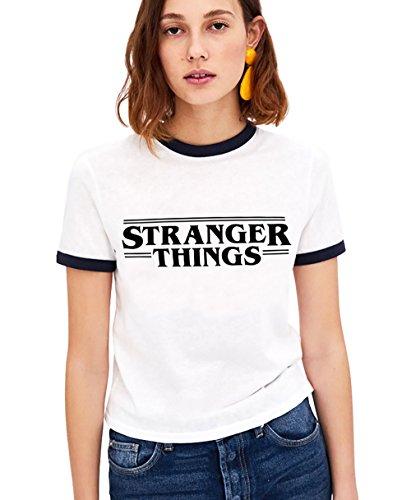 Shirt Ringer tee Stranger Things Camiseta Mejores Amigas Best Friend Impresión T-Shirt Manga Corta1 Pieza Retro Regalo Camisa Cuello Redondo Verano para Mujer(Negro,S)