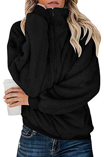 ReachMe Womens Oversized Fleece Sweatshirt Quarter Zip Sherpa Pullover with Pockets Fuzzy Hoodie(Black,2XL)