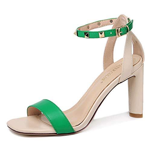 LXQLFY Sandalias de tacón Alto para Mujer, Zapatos con Tachuelas de Verano, Sandalias de Verano de Moda-Verde_37 (Ropa)