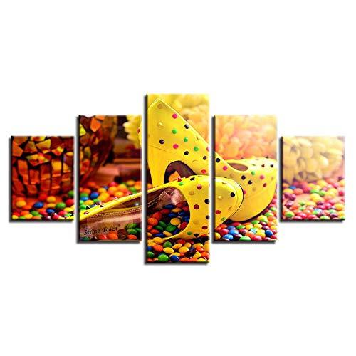 Murturall 5 stuks afdrukken op canvas, gekleurde snoepgoed-chocolade-hoge hakken, canvas, schilderijen, moderne muurkunst, foto's, wooncultuur, poster 100x55cm