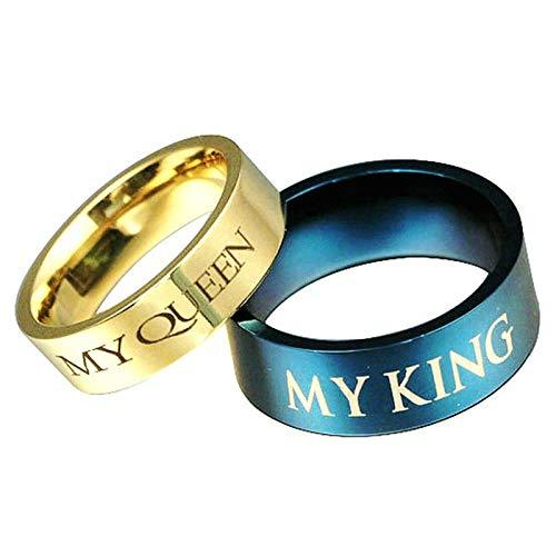 2 Piezas Anillos de Acero Grabado My Queen y My King Oro Azul Oro Azul Mujer Talla 30 + Hombre Talla 20