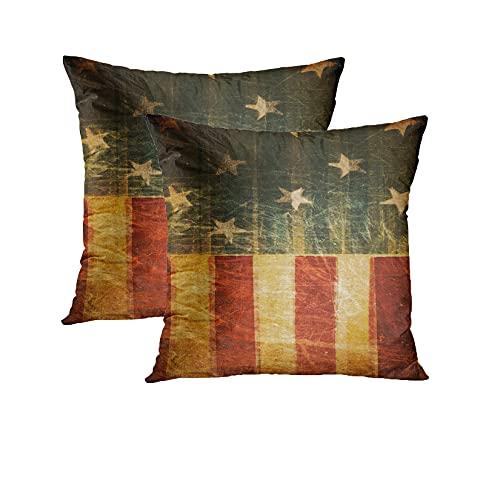 Britimes, set di 4 federe decorative per cuscini da divano, divano e divano Tradizionale 18 x 18 Bandiera americana