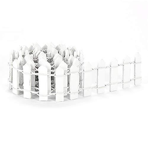 Gobesty Miniatur-Zaun aus Holz, Miniatur Gartenzaun Lattenzaun Bordüre Bonsai Fairy Garden Ornament für Feengarten, Terrarium, Puppenhaus, DIY-Zubehör, 1 Meter * 3 cm, Weiß
