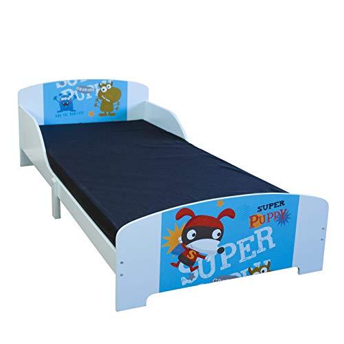 Homestyle4u 1764, Kinderbett 90x200 cm, Spielbett Holz Kiefer, Blau Bunt