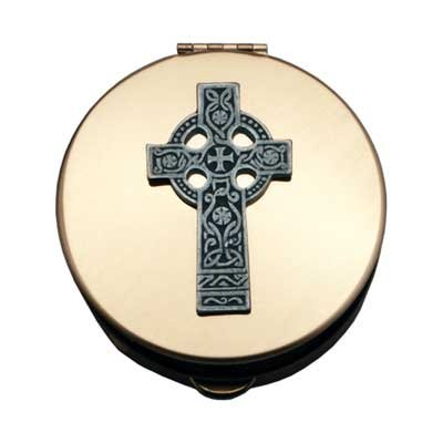 Cathedral Art PS144 Polished Brass PYX - Silver Celtic Cross - Extra Large