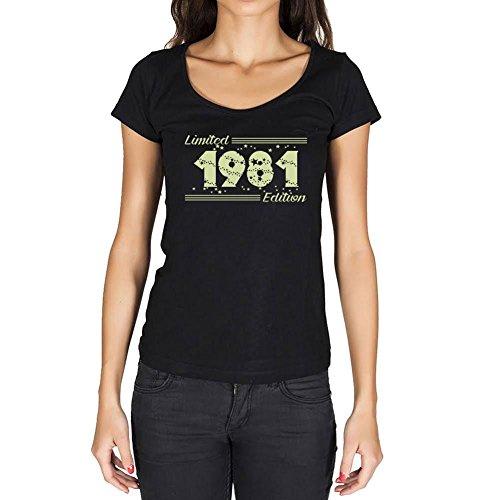 1981 Cumpleaños de 40 años Limited Edition Star Mujer Camiseta Negro Regalo De Cumpleaños