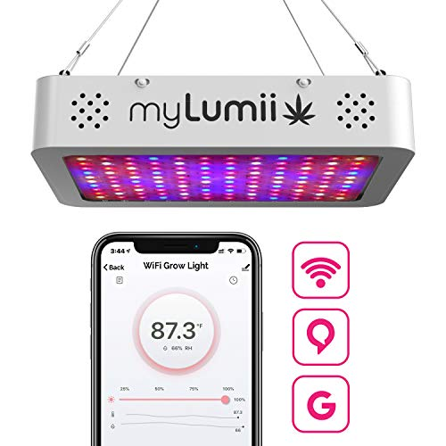 myLumii Smart WiFi LED Grow Light, 1200W Dimmable Full Spectrum Indoor Plant Light, APP Remote Timer, Built-in Temperature Humidity Sensor, Daisy Chain, FCC Certified, Compatible with Alexa