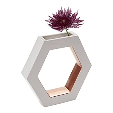 FLOOR | 9 Ceramic Vase, Open Hexagon, White with Rose Gold Accents, Large
