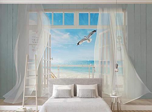 Fondo Mural 3D Vista Al Mar Desde La Ventana Decorar El Dormitorio Del Papel Pintado Del Fondo De La Tv Del Hogar