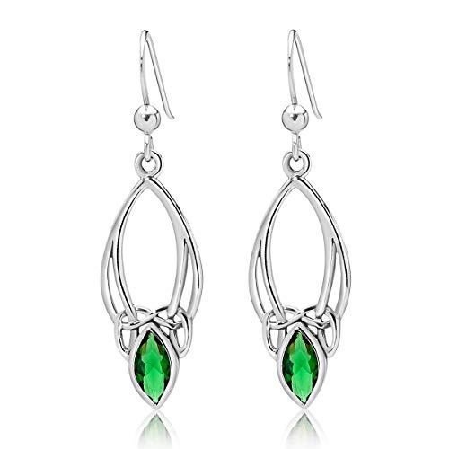 DTPsilver® Pendientes Colgantes de Plata 925 con Gancho - Nudo de la Trinidad Celta - Colección Celta – Verde Esmeralda