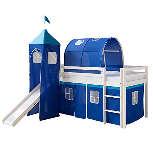 Homestyle4u 1497, Kinder Hochbett Mit Rutsche, Leiter, Turm,Tunnel, Vorhang Blau, Massivholz Weiß, 90x200 cm