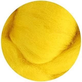 Weir Crafts NZ Corriedale Wool Roving for Felting - 1 Ounce Yellow
