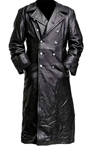SKYSELLER Gabardina de cuero negro uniforme militar de oficial clásico alemán WW2