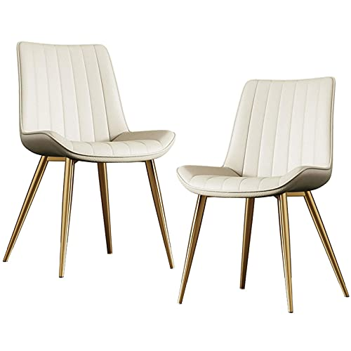 HYRGLIZI Dining Chairs Set of 2 Washable PU Leather Cushion Seat Kitchen Room Side Chair with Metal Legs for Living Room Club Coffee Shop Guest (Color : White, Size : Golden Legs)