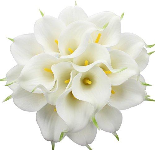 Justoyou Künstliche Blumen aus Latex, realistische Calla-Lilien für Hochzeit, Zuhause, Hotel, Garten, Dekoration, 20 Stück, Textil, Weiß / Gelb, 20PCS