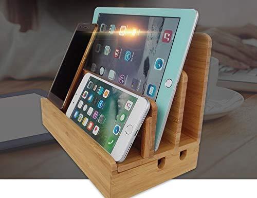 5台同時スタンド 卓上ステーション スマホ 収納スタンド 木目調 Mac book/iPad/iPhone/Xperiaなど対応