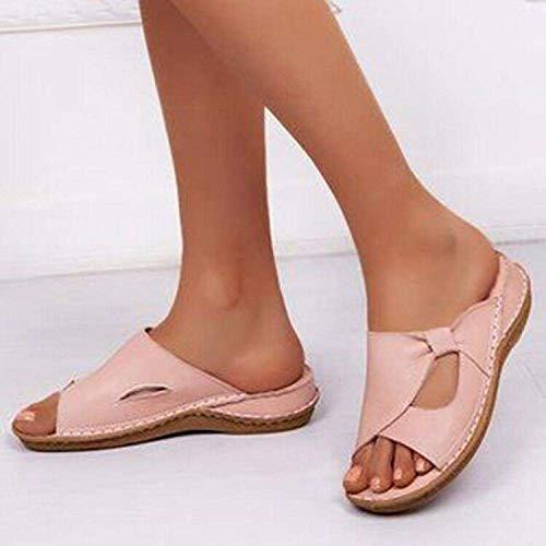 Zapatos casuales para caminar de vacaciones, zapatillas de punta abierta, sandalias de tacón de cuña, color rosa, 38, suela suave, zapatos de piscina para baño kshu