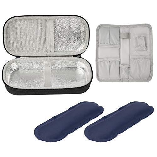 ProCase Insulin Kühltasche Vorrats- und Reisepackungen für Diabetiker Insulin Pen Medikamente Organizer Eva Tasche mit 2 Eisbeuteln -Schwarz