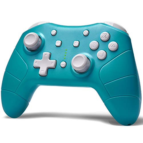 Funlab Wireless Pro Controller for Nintendo Switch/Switch Lite Console,Rechargeable Remote Gamepad Support Adjustable Turbo,Screenshot and Gyro Axis - Turquoise Blue