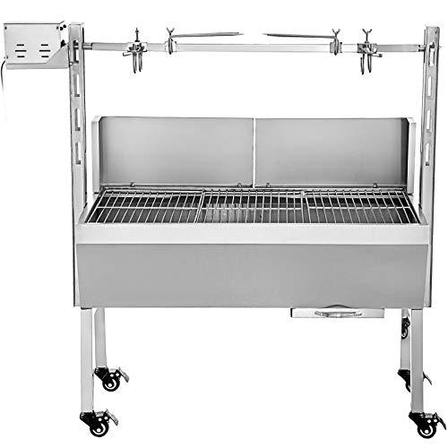VEVOR 60KG Barbecue Electrique Acier INOX Rôtissoire Barbecue Four sur Pied Acier Inoxydable BBQ pour Jardin Camping Grill