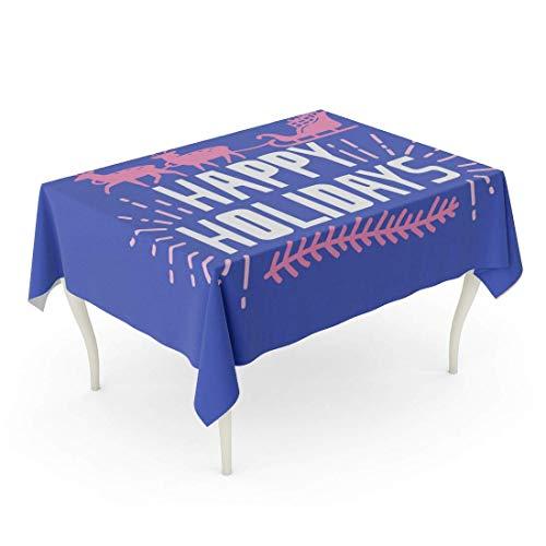 Rechteck-Tischdecke Frohe Feiertage wünschen die geschriebene flippige Phrase, die durch Niederlassung und Silhouette der Rene verziert wird, die den Schlitten tragen, der für Weihnachtstischdecke fes