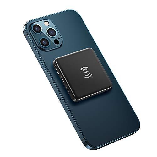 Cargador portátil inalámbrico de MAG-SAFE, cargador de teléfono de células rápidas de 22W Magnético Power Bank PD, 5000mAh USB de una copia de seguridad de la fuente de alimentación, compatible con iP
