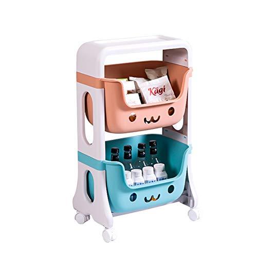 Carrito de Almacenamiento Cocina Trolley De Almacenamiento De 2/3 Niveles Con Ruedas, Carro De Almacenamiento De Cocina, Estante De Almacenamiento De Plástico Móvil para Baño Dormitorio De Oficina De