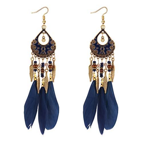 YAZILIND Women Faux Feather Earrings Bohemian Fringe Tassel Pendant Long Drop Dangle Fishhook Earring Girls Birthday Jewelry(Navy Blue)