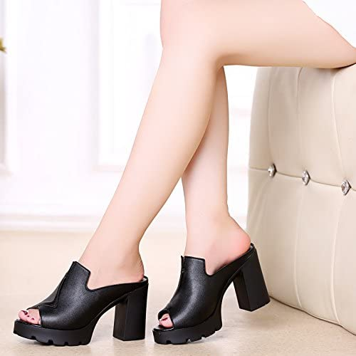 AWXJX été Tongs Femme Chaussures Chaussures Talon Haut avec imperméable épais en Similicuir