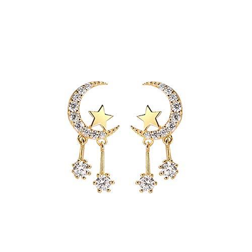 YAZILIND Ohrringe der Frauen 925 Sterling Silber Stern und Mond Tropfen Unregelmäßige Ohrringe mit Strass Hypoallergen Modeschmuck Geburtstagsgeschenk Gold