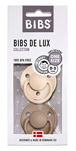 BIBS DE LUX Schnuller / 2er Pack / 100% BPA Freier Silikonsauger/Dänisches Original mit Kirschform, geprüft nach EN1400 / One Size (0-36 Monate) (Vanilla & Dark Oak)
