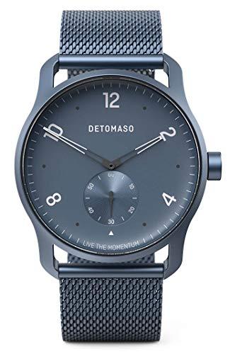 DETOMASO PARTENZA Blue - Reloj de pulsera analógico de cuarzo para hombre, malla milanesa, correa azul