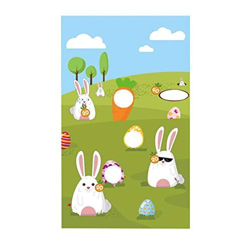 140x80cm Juego de Lanzamiento de Conejito de Pascua Bolsas de Frijoles Colgantes de Pascua Banners con patrón de Conejito para Actividades de Fiesta para Adultos y niños