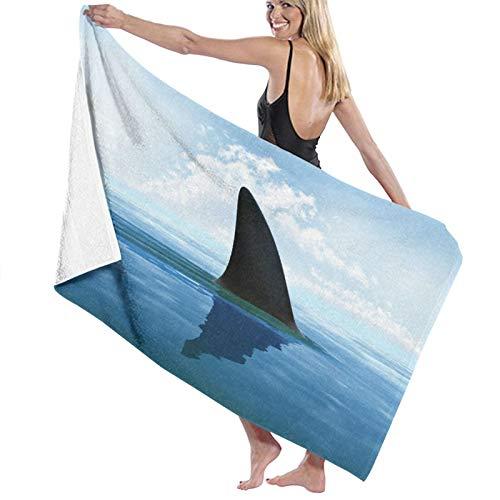 Grande Suave Ligero Microfibra Toalla de Baño Manta,Aleta de tiburón sobre el Agua,Hoja de Baño Toalla de Playa por la Familia Hotel Viaje Nadando Deportes Decoración del Hogar,52' x 32'