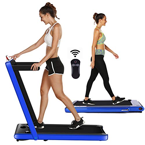 OppsDecor Under Desk Treadmill for Home Folding Electric Treadmill Walking Running Machine Pad Treadmill with Remote Control and Bluetooth Speaker Installation-Free (Blue)