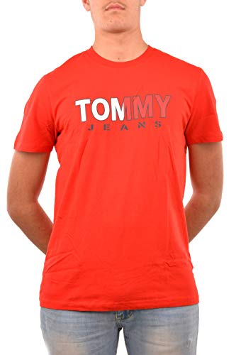 Tommy Jeans Herren TJM Tommy Colored Tee Sporthemd, Rot (Red Xa9), Large