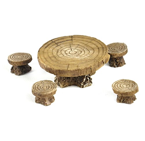 Woodland Table and Stool Set - Fiddlehead Fairy Garden Collection