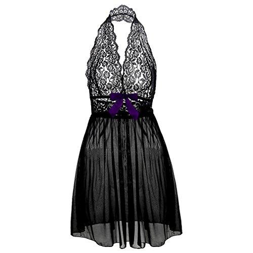 Boowhol Damen Reizwäsche Spitzenkleid Nachthemd Negligee Sexy Transparent Dessous-Sets Kleid Spitze Reizvoll Neckholder Babydolls mit Panties,Übergröße- größe L-5XL (5XL, Schwarz)