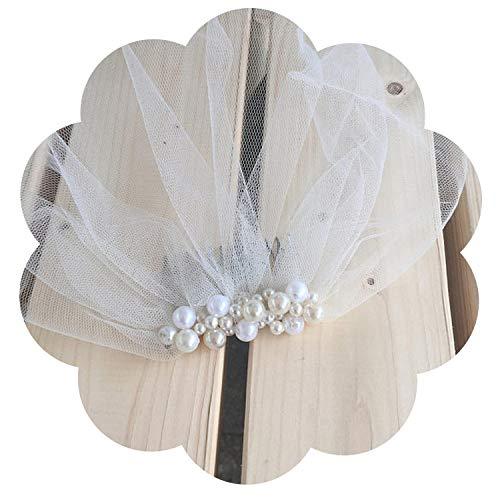 Happy-Boutique - Vela de boda con perla, velo de jaula para pájaros, buena mercado, hecho a mano con peine para novia y velo corto