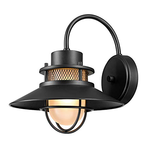 Globe Electric Liam 1-Light Outdoor Wall Sconce, Matte Black, Frosted White Glass Shade 44233