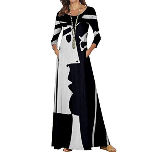 Vestidos Largos De Fiesta para Bodas De Noche Fiesta Patrón De Cebra Péndulo Grande Cintura Suelta Cuello Redondo Fiesta Cóctel Vestido Fiesta Mujer Talla Grande,Black+White,S