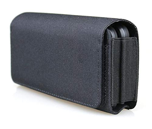 aubaddy Horizontal Dual Phone Holster Pouch Case for Two Phones, Nylon Double Decker Belt Clip Case for 2 iPhone 12 Pro Max 11 Pro Max Samusng Note 20 Ultra 5G Note 10+ Galaxy S20 Plus S20 FE A71 A51