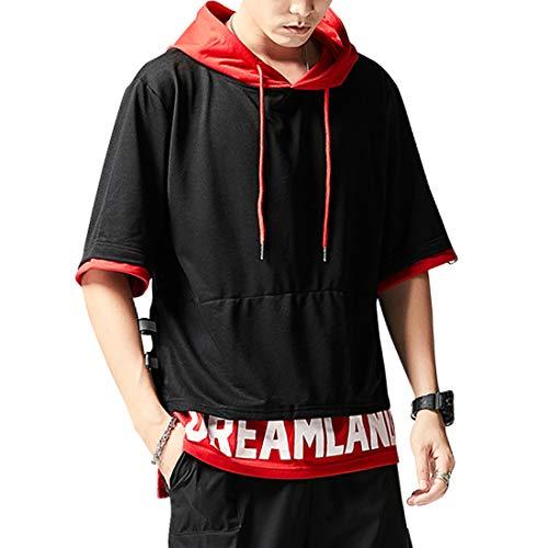 XIAOYAO Camiseta con Capucha Hombre & Mujer (Negro Rojo, 2XL (Gewicht65-70KG -Höhe175-180cm))
