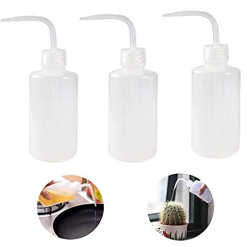 Botella de Lavado ,Eight Space Botella de CompresióN Transparente Hecha de PláStico Botellas de Laboratorio Botella De Botella De Lavado Con Cuello Estrecho para riego de plantas-3 Piezas (150ml)