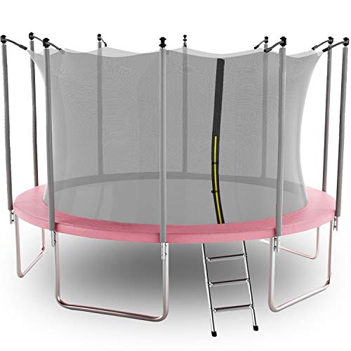 AOTOB 14 FT Trampoline for Kids with Safety Enclosure Net,Ladder Trampoline for Kids,Spring Pad, Ladder, Combo Bounce Jump Trampoline, Pink Outdoor Trampoline for Kids, Adults
