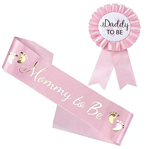 Decorazioni Baby Shower per Bambino, Mamma To Be Sash, Daddy to be Distintivo, Decorazioni New Dad Mom, 2 Pezzi