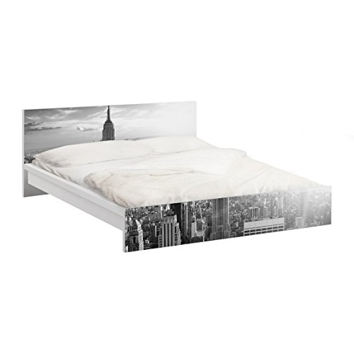 Apalis Vinilo Adhesivo para Muebles IKEA - Malm Bed Low 180x200cm Manhattan Skyline, Größe:77cm x 197cm