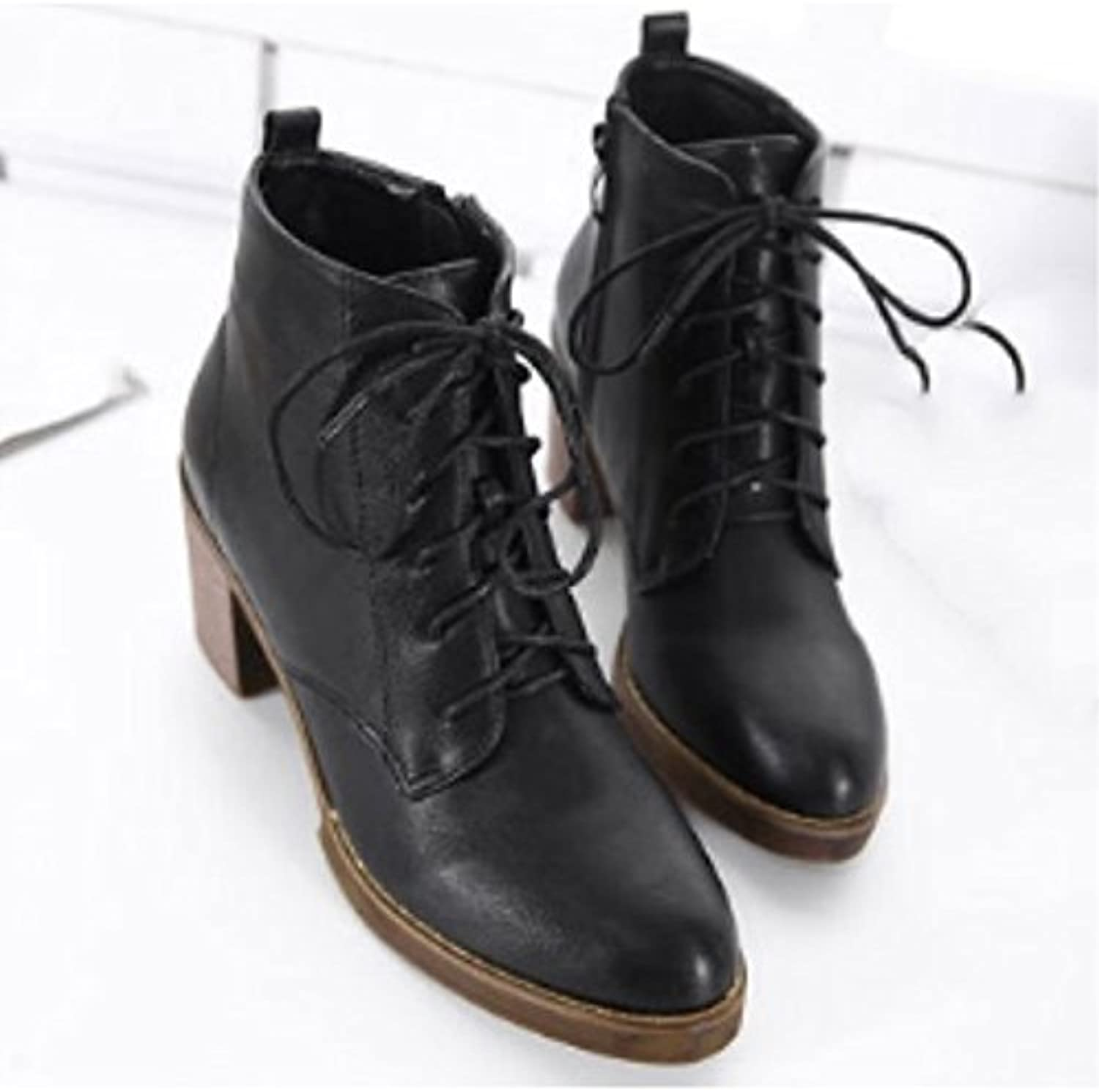 HSXZ Women's shoes PU Winter Combat Boots Boots Chunky Heel Round Toe Booties Ankle Boots for Casual Dark Brown Black