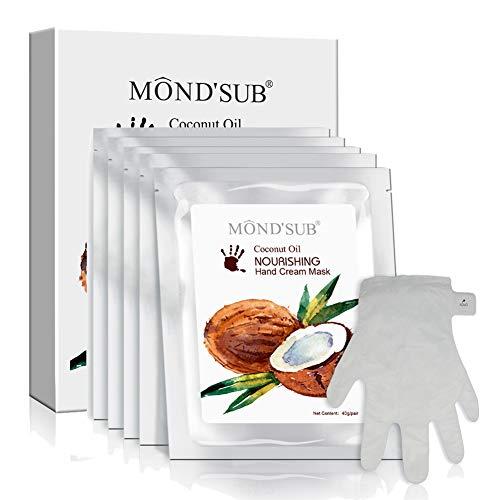 mejor mano hidratante y máscara de uñas - Guantes saludable aceite de coco hidratante para manos secas - completa con la esencia orgánica Hidratantes y nutritivos Mano Máscara La protección(5 pares)