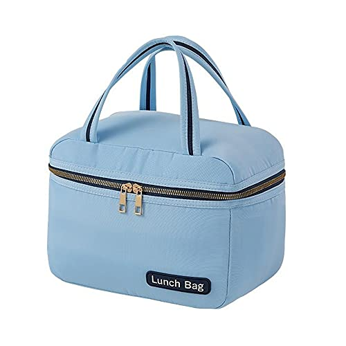 HANMOU Bolsa de congelador, impermeable, pequeña, para hombre, bolsa de picnic, bolsa aislante, bolsa para el almuerzo, color azul, 27 x 14 x 19 cm